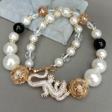 20'' White Sea Shell Pearl Onyx Cz pave gecko charm statement Necklace