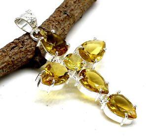 "925 Sterling Silver Yellow Citrine Gemstone Jewelry Cross Pendant Size-2"""