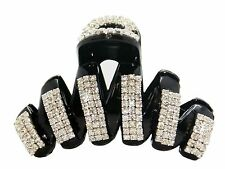 Large Luxury Fancy Good Quality Rhinestones Claw Clip Jaw Clips-Black