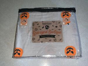 Berkshire Graveyard Bootique Halloween Queen Size Sheet Set Cats Pumpkins New