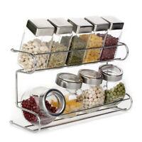 10pcs/set Glass Jars Spice Holder Home Kitchen Spice Storage Shelf Stand Rack