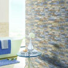 Arthouse Azure Pizarra Patrón de Papel Tapiz Efecto Imitación Ladrillo de piedra