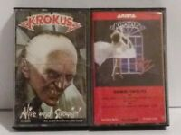 Lot of 2 KROKUS Cassette Tapes The Blitz & Alive and Screaming METAL