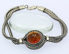 ♦ Armband in aus 925er Sterlingsilber mit Bernstein Armreif Silber Silberarmband