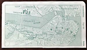 Authentic 1920 Original MAP ~ BOSTON BACK BAY, CHARLESTOWN, MA Charles River