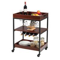 3 Tier Trolley Cart Kitchen Island Serving Bar Cart w/ Glass Holder & Wine Rack