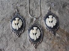 *SCOTTISH THISTLE CAMEO NECKLACE AND EARRINGS SET - SCOTLAND - QUALITY!!
