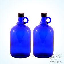 2 x 2 litros Globo de cristal botella azul - Vino Almacenamiento agua asa Galón