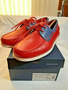 Cole Haan C32581 Cornell 2 Eye Boat Red Leather Men's Shoes Size 11 M