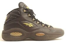 Reebok Hexalite Black Leather Gold Stitch High Top Basketball Shoes Men Sz 13.5