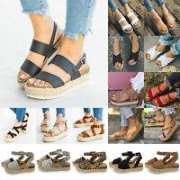 Womens Ankle Strap Flatform Wedges Sandals Espadrilles Platform Flip Flop Shoes