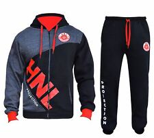 Quality Hnl Mens Tracksuit Set Fleece Hoodie Top Bottoms Gym Base Jogging Jogger Camou Blue XL