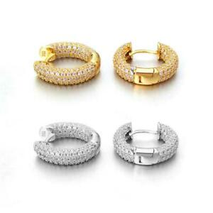 3D Full Micro Pave CZ Iced Out Huggie Hoop Earrings .925 Sterling Silver BLING