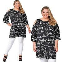 Magna - Damen Kleid Tunika - mit Top aktuellem Print-Schwarz/Weiß