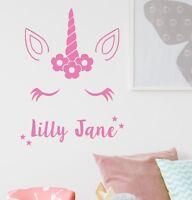Unicorn Wall Sticker With Personalised Name Kids Bedroom Custom Art Girls NA56