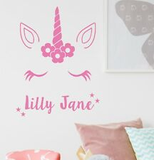 Unicorn Wall Sticker With Personalised Name Kids Bedroom Custom Art Girls NA56