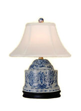 """Chinese Blue and White Porcelain Box Chinoiserie Floral Table Lamp 17"""""""