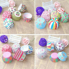 100× Cute Cupcake Muffin Baking Greaseproof Paper Bun Cases Cake Decorating
