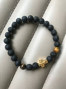 Simple And Rich!!! •••Tiger Eye And 18K Gold Plated Cross Beaded Bracelet•••