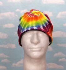 Tie Dye Rainbow Swirl Beanie Hippie Stocking Hat Fleece Lined Winter Warm Cap