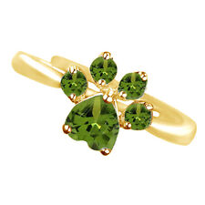 Round & Heart Green Peridot Adjustable Dog Paw Ring 14K Yellow Gold Over