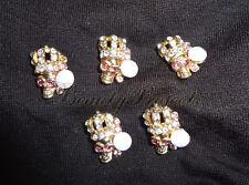 (5pcs) 3D gold skull diamond head halloween nail art charms acrylic gel New #H1