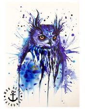 ►► Tatouage Temporaire Ephèmère Réaliste Hibou Graphique Bleu Peinture Tableau