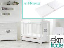 Babybett Kinderbett 120x60 Holz Gitterbett mit Matratze SCHUBLADE weiß ekmTRADE