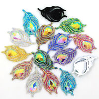10PCS AB Resin Leaf Peacock Feathers Flatback Rhinestone Craft DIY Accessories