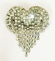 VINTAGE STYLE ARTICULATED SILVER CRYSTAL DIAMANTE HEART TASSEL BROOCH PIN LOVE