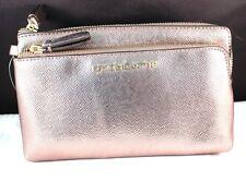"""Fun! New Liz Claiborne 8"""" Pewter Style Double-Zip Wristlet Organizer Handbag NWT"""