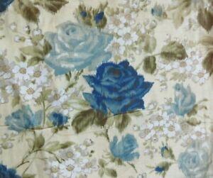 """5.8 yds Vintage Cotton Fabric Romantic Tan & Blue Rose Cottage Floral 36"""" width"""