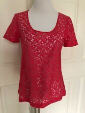FOSSIL CORAL PINK EYELET CROCHET TOP BLOUSE - XS - EUC