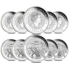 Lot of 10 - 2019 1 oz Silver Australian Kookaburra Perth Mint .999 Fine BU In