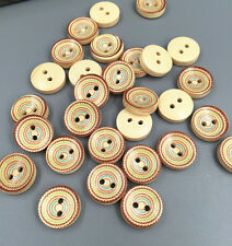 100PCS Wood color circle 2 Holes Wooden Buttons Fit Sewing Scrapbooking 13mm
