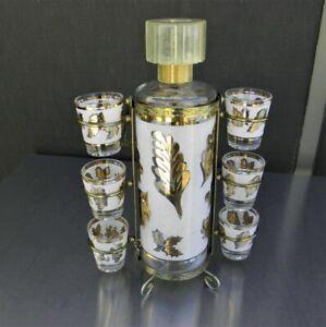 Vintage Aldon Bar Set Decanter with 6 Shot Glasses with Carrier Gold Leaves