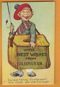 Kent- I've been fishing- Gillingham.   Novelty Pull out  Postcard