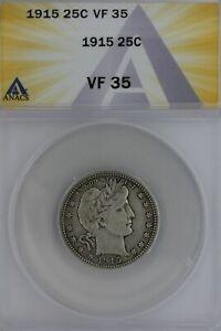 1915  .25  ANACS   VF 35   Barber Quarter, Liberty Head Quarter, Barber 25C