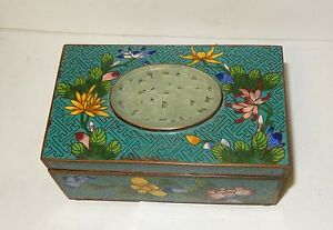 OLD CHINESE FLORAL CLOISONNE TURQUOISE ENAMEL WHITE JADE HUMIDOR TRUNK BOX