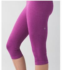 Lululemon Womens Size 4 In The Flow II Crop Gym Yoga Workout Leggings In Pink