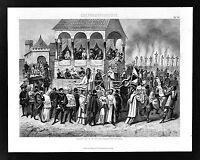 1874 Bilder Print - Auto de Fe Parade Buning Heretics Spanish Inquisition Spain