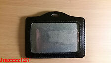 2 PCs Clear Faux Leather Horizontal ID Card Holder - BLACK *AUSSIE SELLER*