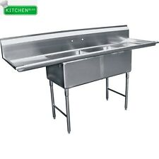 """2 Compartment  Sink 18"""" x 18"""" w/ 2 Drainboards NSF"""