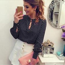 New womens chiffon Polka Dots blouses OL work wear long sleeve shirts slim tops
