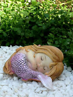 Miniature Figurine FAIRY GARDEN ~ Sleeping Little Purple Mermaid ~ NEW