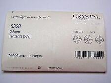 1,440 PIECES SWAROVSKI CRYSTAL BEADS #5328 2.5MM BICONE-TANZANITE -FACTORY PACK