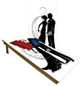 Wedding Night CORNHOLE BEANBAG TOSS GAME w Bags Game Board Black White Set