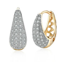 Women Jewelry Drop-shaped 18k Gold Plated Zircon Hoop Huggie Elegant Earrings
