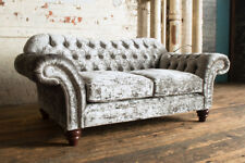 MODERN HANDMADE 2 SEATER CRUSHED SILVER VELVET CHESTERFIELD SOFA