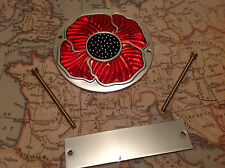 Red Enamelled Poppy Grille Car Badge with Grille Fixings British Legion ALUM 1